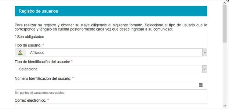 registro de usuario en Salud Total