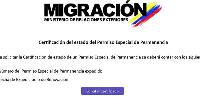 Certificación del estado del Permiso Especial de Permanencia